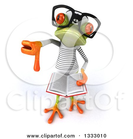 Clipart of a 3d Bespectacled Green Springer Frog Sailor Holding up a Thumb down and an Open Book - Royalty Free Illustration by Julos