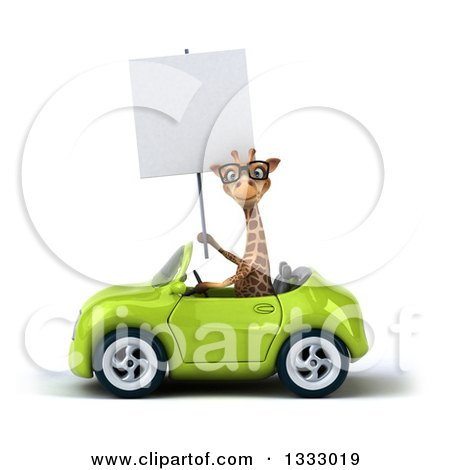 Clipart of a 3d Bespectacled Giraffe Driving a Green Convertible Car and Holding a Blank Sign - Royalty Free Illustration by Julos