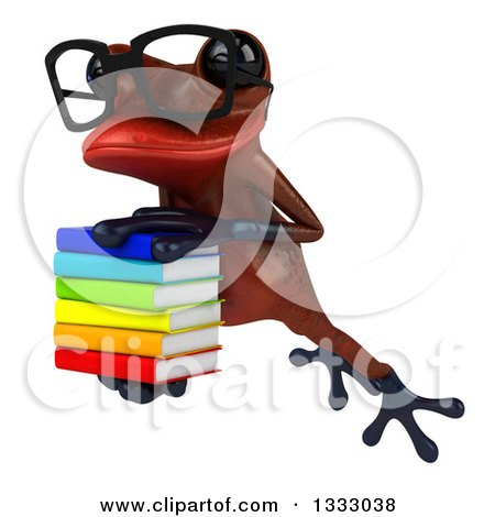 Clipart of a 3d Bespectacled Red Springer Frog Leaping to the Left and Holding a Stack of Books 2 - Royalty Free Illustration by Julos