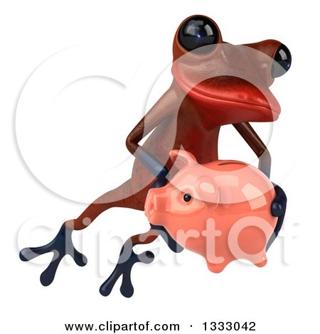 Clipart of a 3d Red Springer Frog Jumping Slightly to the Right and Holding a Piggy Bank - Royalty Free Illustration by Julos