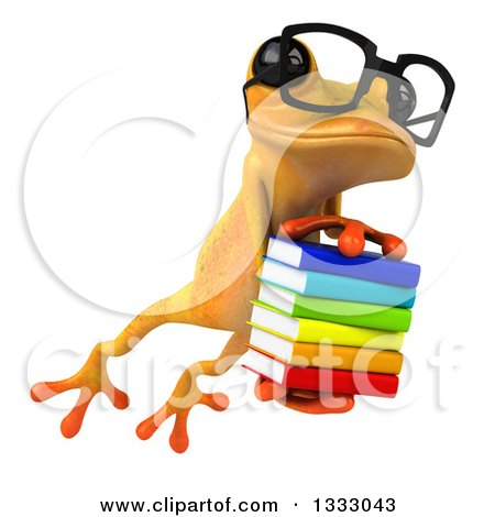 Clipart of a 3d Bespectacled Yellow Springer Frog Leaping Slightly to the Right and Holding a Stack of Books - Royalty Free Illustration by Julos