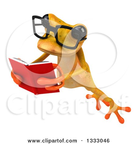 Clipart of a 3d Bespectacled Yellow Springer Frog Leaping to the Left and Reading a Book 2 - Royalty Free Illustration by Julos