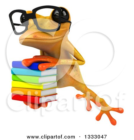 Clipart of a 3d Bespectacled Yellow Springer Frog Leaping Slightly to the Left and Holding a Stack of Books - Royalty Free Illustration by Julos