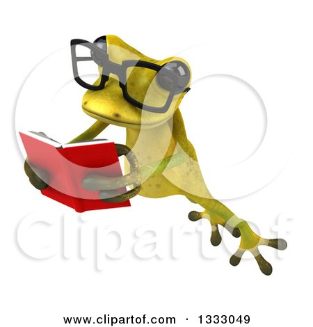 Clipart of a 3d Bespectacled Light Green Springer Frog Leaping to the Left and Reading a Book - Royalty Free Illustration by Julos