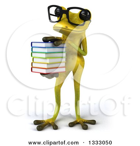 Clipart of a 3d Bespectacled Light Green Springer Frog Holding a Stack of Books, Facing Slightly Left - Royalty Free Illustration by Julos