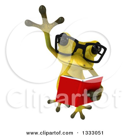 Clipart of a 3d Bespectacled Light Green Springer Frog Leaping and Reading a Book - Royalty Free Illustration by Julos