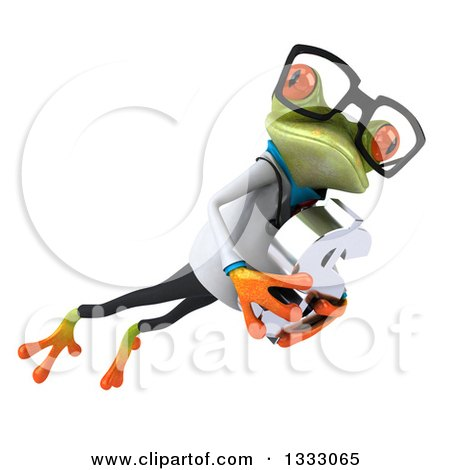 Clipart of a 3d Bespectacled Green Doctor Springer Frog Leaping to the Right and Holding a Dollar Currency Symbol - Royalty Free Illustration by Julos