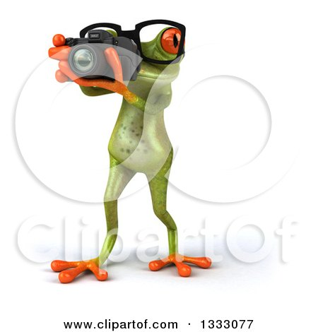 Clipart of a 3d Bespectacled Green Springer Frog Walking and Taking Pictures with a Camera - Royalty Free Illustration by Julos