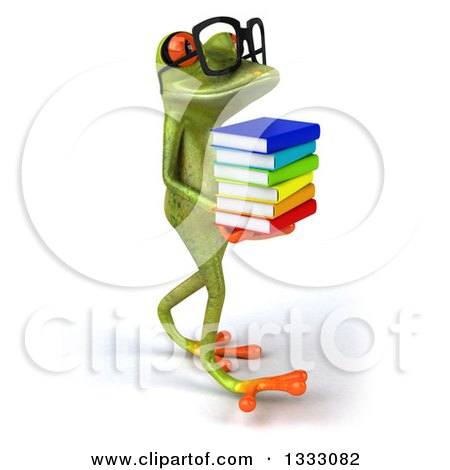 Clipart of a 3d Bespectacled Green Springer Frog Walking to the Right and Holding a Stack of Books - Royalty Free Illustration by Julos