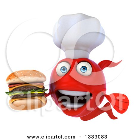 Clipart of a 3d Red Fish Chef Holding a Double Cheeseburger - Royalty Free Illustration by Julos