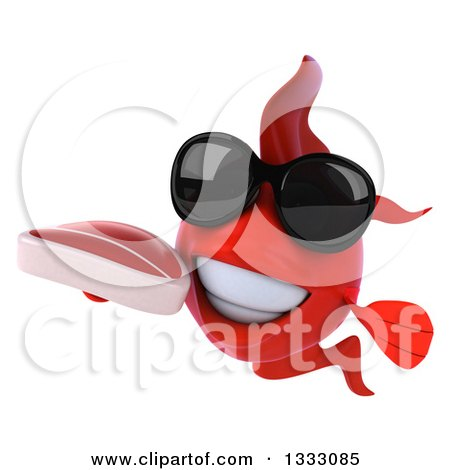 Clipart of a 3d Red Fish Wearing Sunglasses and Holding a Beef Steak - Royalty Free Illustration by Julos