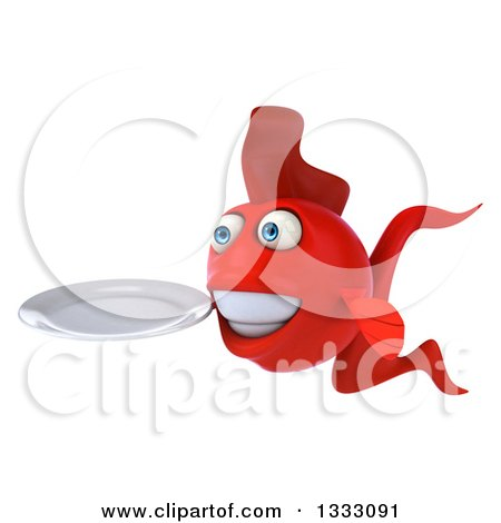 Clipart of a 3d Red Fish Facing Left and Holding a Plate - Royalty Free Illustration by Julos