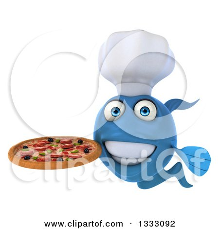 Clipart of a 3d Blue Fish Chef Holding a Pizza - Royalty Free Illustration by Julos