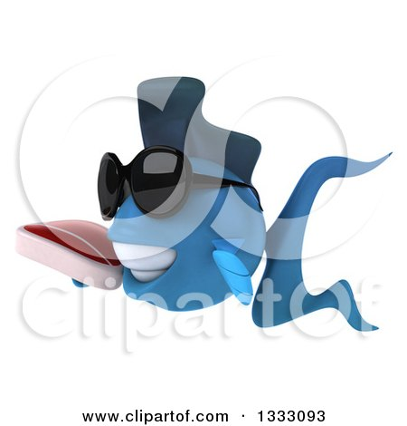 Clipart of a 3d Blue Fish Wearing Sunglasses, Facing Left and Holding a Beef Steak - Royalty Free Illustration by Julos