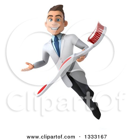 Clipart of a 3d Happy Young Brunette White Male Dentist Flying, Presenting and Holding a Giant Toothbrush - Royalty Free Illustration by Julos