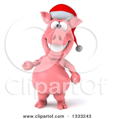 Clipart of a 3d Happy Christmas Pig Wearing a Santa Hat and Presenting - Royalty Free Illustration by Julos