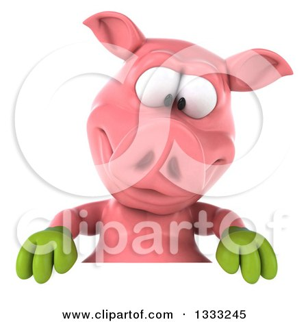 Clipart of a 3d Happy Gardener Pig Looking down over a Sign - Royalty Free Illustration by Julos