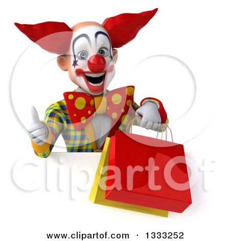 Clipart of a 3d Funky Clown Giving a Thumb up and Holding Shopping or Gift Bags over a Sign - Royalty Free Illustration by Julos