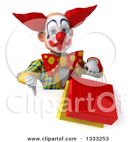 Clipart of a 3d Funky Clown Giving a Thumb down and Holding Shopping or Gift Bags over a Sign - Royalty Free Illustration by Julos