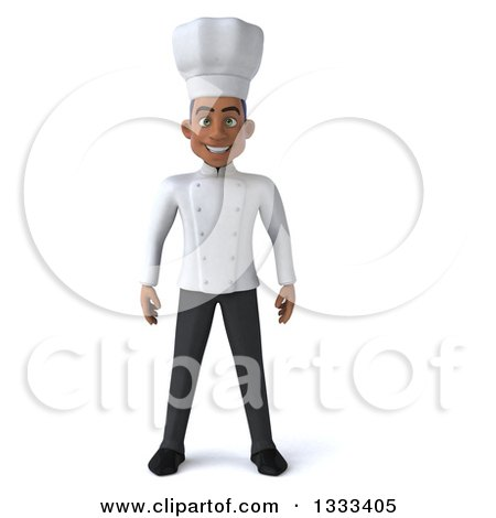 Clipart of a 3d Young Black Male Chef - Royalty Free Illustration by Julos