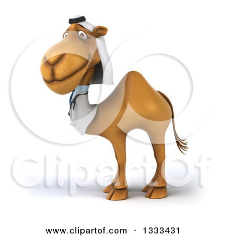 Clipart of a 3d Arabian Doctor Camel Facing Slightly Left - Royalty Free Illustration by Julos