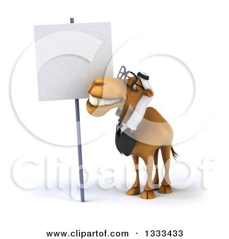 Clipart of a 3d Bespectacled Arabian Business Camel Looking up at a Blank Sign - Royalty Free Illustration by Julos