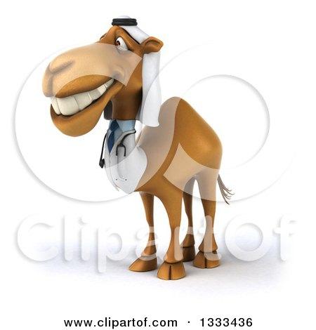 Clipart of a 3d Arabian Doctor Camel Facing Slightly Left 2 - Royalty Free Illustration by Julos