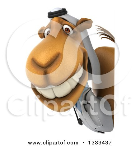 Clipart of a 3d Arabian Doctor Camel Smiling Around a Sign - Royalty Free Illustration by Julos