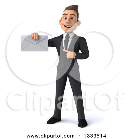 Clipart of a 3d Happy Young White Businessman Holding and Pointing to an Envelope - Royalty Free Illustration by Julos
