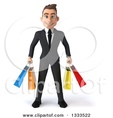 Clipart of a 3d Happy Young White Businessman Holding Shopping Bags - Royalty Free Illustration by Julos