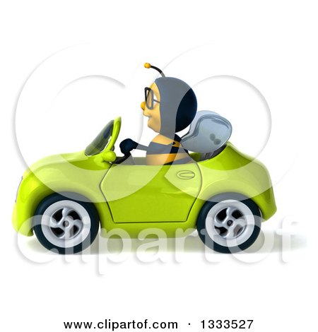 Clipart of a 3d Happy Bespectacled Male Bee Driving a Green Convertible Car 2 - Royalty Free Illustration by Julos
