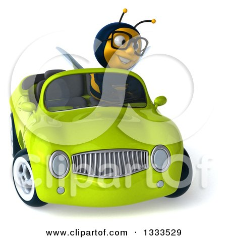 Clipart of a 3d Happy Bespectacled Male Bee Driving a Green Convertible Car - Royalty Free Illustration by Julos
