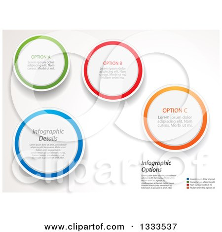 Clipart of Circles with Colorful Rings and Infographic Sample Text on off White - Royalty Free Vector Illustration by elaineitalia