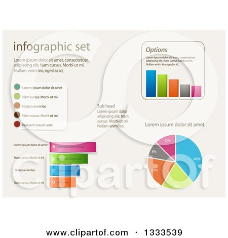 Clipart of Infographic Charts and Graphs with Sample Text - Royalty Free Vector Illustration by elaineitalia