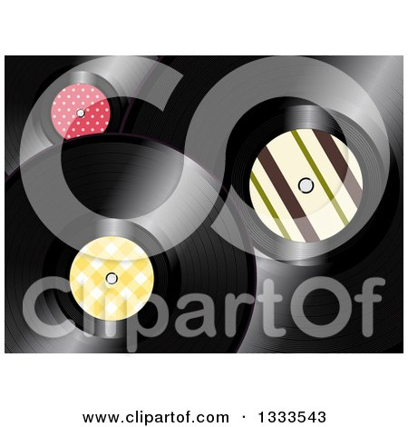 Clipart of a Background of 3d Music Vinyl Records with Patterned Centers - Royalty Free Vector Illustration by elaineitalia