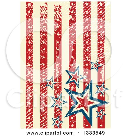 Clipart of a Distressed Grungy American Background with Vertical Red and Tan Stripes and Stars - Royalty Free Vector Illustration by Pushkin