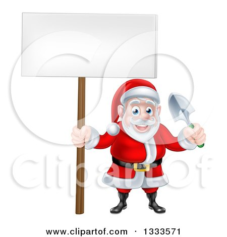 Clipart of a Cartoon Santa Holding a Blank Sign and a Garden Trowel - Royalty Free Vector Illustration by AtStockIllustration