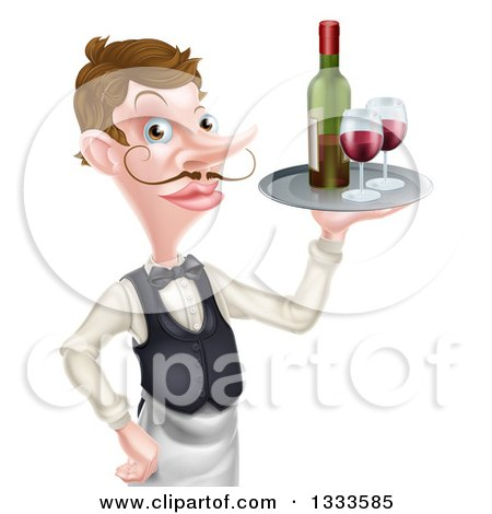 Clipart of a Cartoon Caucasian Male Waiter with a Curling Mustache, Holding Red Wine on a Tray - Royalty Free Vector Illustration by AtStockIllustration
