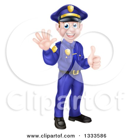 Clipart of a Cartoon Happy Caucasian Male Police Officer Waving and Giving a Thumb up - Royalty Free Vector Illustration by AtStockIllustration