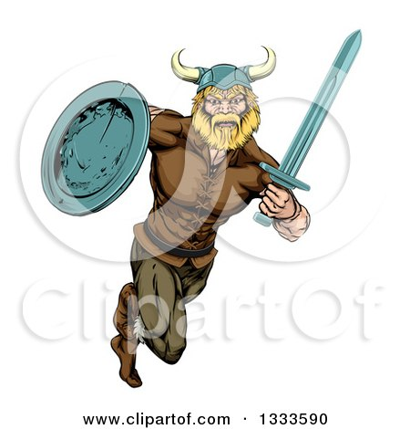 Clipart of a Muscular Blond Viking Warrior Sprinting with a Sword and Shield - Royalty Free Vector Illustration by AtStockIllustration