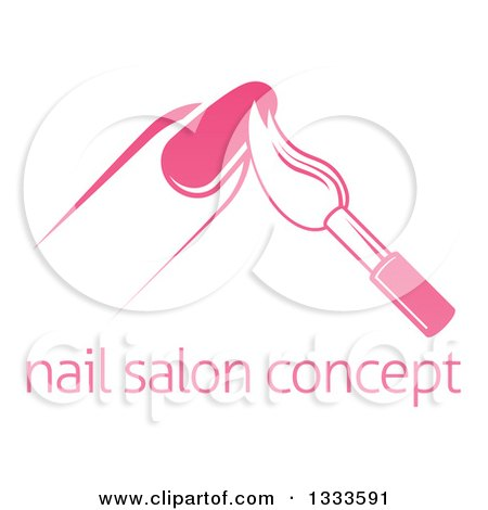 Clipart of a White and Pink Nail Polish Brush and Finger Above Sample Text - Royalty Free Vector Illustration by AtStockIllustration