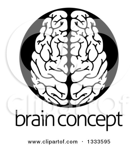 Clipart of a White Human Brain in a Black Circle over Sample Text - Royalty Free Vector Illustration by AtStockIllustration
