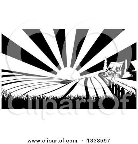 Clipart of a Cottage Farm House on a Hill with the Sunrise and Fields in Black and White - Royalty Free Vector Illustration by AtStockIllustration