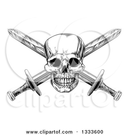 Black and White Engraved Pirate Skull and Cross Swords 2 Posters, Art Prints