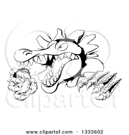 Clipart of a Black and White Cartoon Vicious Alligator or Crocodile Monster Slashing Through a Wall - Royalty Free Vector Illustration by AtStockIllustration