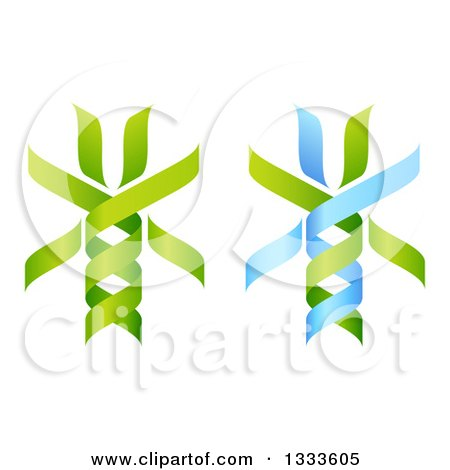Clipart of 3d Green and Blue DNA Double Helix Trees 2 - Royalty Free Vector Illustration by AtStockIllustration