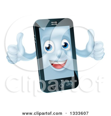 Clipart of a Cartoon 3d Happy Cell Phone Character Holding Two Thumbs up - Royalty Free Vector Illustration by AtStockIllustration