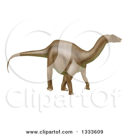 Clipart of a 3d Brown Brontosaurus Dinosaur - Royalty Free Vector Illustration by AtStockIllustration