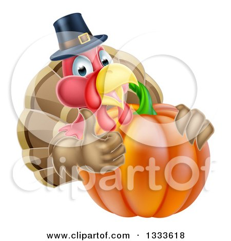 Clipart of a Pleased Thanksgiving Turkey Bird Wearing a Pilgrim Hat and Giving a Thumb up over a Pumpkin 2 - Royalty Free Vector Illustration by AtStockIllustration