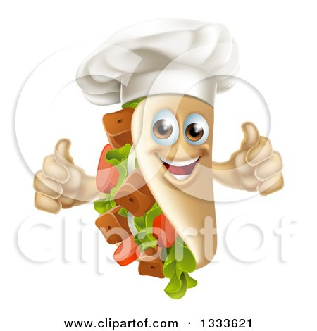 Clipart of a Cartoon Chef Souvlaki Kebab Sandwich Mascot Giving Two Thumbs up - Royalty Free Vector Illustration by AtStockIllustration